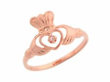 10k / 14k Rose Gold Friendship and Love Claddagh Diamond Promise Ring