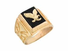 10k / 14k Yellow Gold Onyx Patriotic Eagle Mens Ring