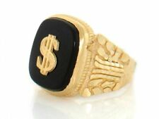 10k or 14k Yellow Gold Onyx Dollar Sign Mens Nugget Ring