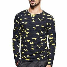 Fashion Mens T-Shirt Long Sleeve Round Neck Printing Camouflage Basic Tee M~2XL