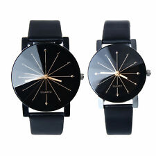 Elegant Quartz Black Wrist Watch with Faux Leather Strap - Large and Small Sizes