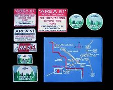 AREA 51 ~ I WANT TO BELIEVE - FABRIC SEW ON BADGES X FILES UFO ALIEN ROSWELL MAP