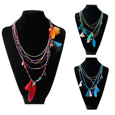 Ethnic style Tassel Beads Multilayer Chain Necklace Feather Pendant Chocker HOT