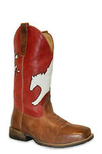 Roper Boots Kids Brown Leather Red Boys Bronc Rider