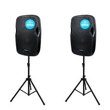 2 x Kam RZ10A V3 Active Speaker with Stereo Line & Mic Inputs DJ Pair & Stands