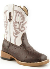 Roper Baby Boys Infant Square Toe Brown Brown Faux Ostrich Print Leather Cowboy