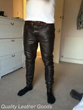 100% GENUINE LAMB BROWN  LEATHER Mens THIGH FIT PANTS JEANS  TROUSERS