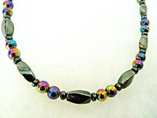 Mens Womens RAINBOW 100% Magnetic Hematite Anklet Necklace Bracelet Healing 1Row