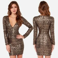 Black Gold Sequin Bodycon Short Women Long Sleeve Mini Dress !!!
