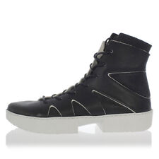 TRIPPEN New Men Black White Boots Leather Laced Rubber Sole Shoes Made Germany