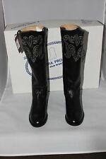 """Old West Black Womens All Leather 14"""" Tall Roper Toe Cowboy Boots"""