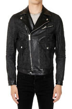 DSQUARED2 Man Denim Biker Jacket with Details in Leather Made in Italy
