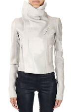 RICK OWENS Women Grey CLASSIC BIKER Jacket Made in Italy New