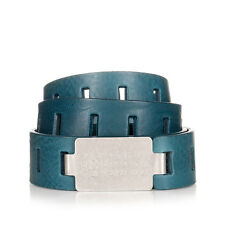 MARTIN MARGIELA MM11 Men Blue Perforated Leather Belt Made in Italy New