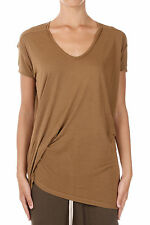 RICK OWENS New Woman Brown Mustard silk Blend T-shirt Tee Made Italy
