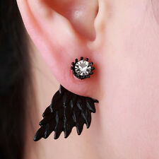 Black Party New Women's Inlaid Alloy Earrings Wings Rhinestone