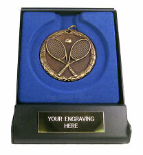 Tennis Laurel 50mm Medal (Gold, Silver, Bronze) with Case & FREE Engraving