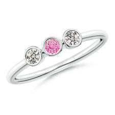 Natural Round Cut Pink Sapphire Diamond Three Stone Ring 14k White Gold Size 7