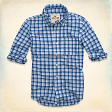 NWT Hollister by Abercrombie Mens Blacks Beach Plaid Shirt - Size XL