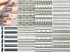 Black & White 3D Lace Flower Nail Art Manicure Tips Sticker Decal DIY Decoration