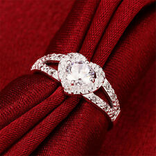 Ideal Silver Plated Crystal Love Heart Ring Bridal Wedding Party