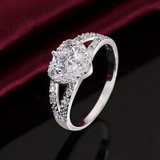 Fashion Wedding Lady Jewelry Crystal Heart Ring Silver Plated