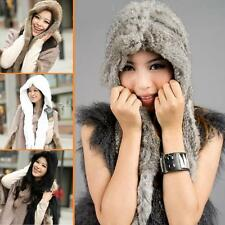 Real Genuine rex rabbit fur Hat cap scarf wrap unique neck warmer Low Gain