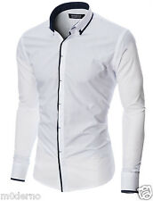 MODERNO Mens dress shirt slim fit button down casual shirt (MOD1445LS)