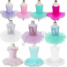 Girls Gymnastics Ballet Fancy Dresses Leotard Tutu Skirt Dance Ballerina Costume