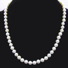 """AAA 7-8mm Round Natural White FW pearl & 14K white gold clasp 17"""" necklace-n6232"""