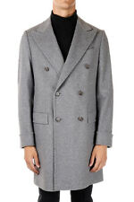 ID CORNELIANI New Men Grey Lined Virgin Wool Blend Coat Jacket Made in Italy NWT