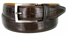 "Real Leather Alligator Embossed Dress Belt 1-3/8"" Wide Coffee Tan Metal Buckle"