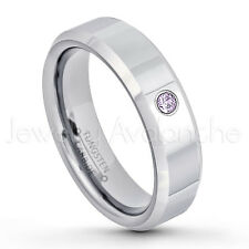 0.07ct Amethyst Solitaire Ring, February Birthstone, Tungsten Wedding Band #048