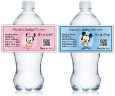 20 MICKEY / MINNIE MOUSE BABY SHOWER WATER BOTTLE LABELS FAVORS - waterproof ink