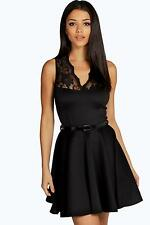 Boohoo Womens Nadine Scallop Lace Belted Skater Dress