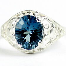 Swiss Blue Topaz (Quantum Cut), 925 Sterling Silver  Ring, SR004-Handmade