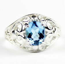 Swiss Blue Topaz, 925 Sterling Silver Ring, SR111-Handmade