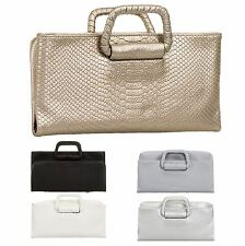 WOMENS NEW MOCK CROCK METALLIC CLUTCH BAG EVENING FORMAL DESIGNER BAG UK
