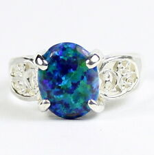 Created Blue Green Opal, 925 Sterling Silver Ring, SR369-Handmade