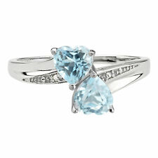 .70 Ct Heart Sky Blue Aquamarine Diamond Accent 925 Sterling Silver Ring