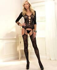 All-in-One Floral Bouquet Lace Bustier with Keyhole Cut-Out & Attached Stockings