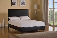 Black Bed Frame Leather Headboard Bonded Twin Full Queen Size Platform Wood Slat