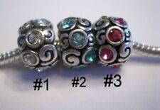 European Charms Pink Teal Blue Clear Stones Silver Bling Multi Choice Get 1 Free