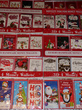 CHRISTMAS WALLETS PACK OF 4 3D GIFT CARD MONEY CASH CHILDREN ADULT CUTE TRAD