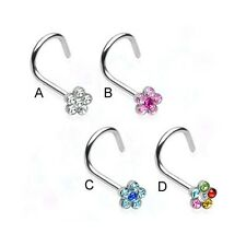 Stainless steel nose screw with jeweled flower, 20 ga