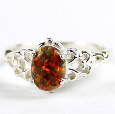 Created Red Brown Opal, 925 Sterling Silver Ring, SR302-Handmade