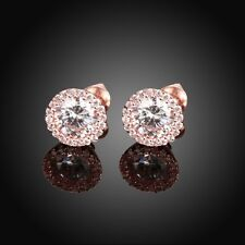 White Gold GP Women Fashion Oval Elegent Crystal Zircon Wedding Stud Earring