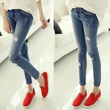 Women Blue During Waist Skinny Holes Jeans Elastic Ripped Jeans Plus Size !!!