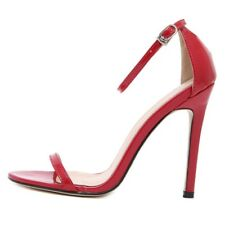 Red Black White Woman Shoes Ankle Strap Mary Janes Open Toe Concise Patent