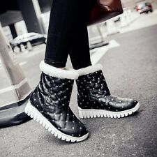 Size 5-12 Womens Leather Low Heels Wedges Mid-Calf Snow Winter Warm Boots Shoes